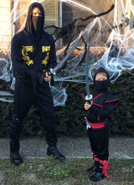 Grandson and me dessed as a couple of Ninjas